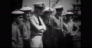 French and American navy officers posing for photograph Stock Footage