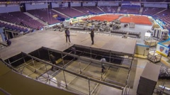 Installation stage and equipment before the concert. Time Lapse - stock footage