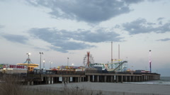Time lapse medium close up Atlantic City Amusement Park at Steel Pier Stock Footage