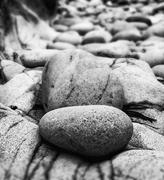 tilt shift effect image with shallow depth of field textured rocks on beach b - stock photo