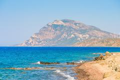 Highest mountain and the blue aegean sea Stock Photos