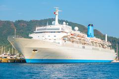 huge passenger liner in the port of marmaris - stock photo