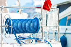 Cable reel with a rope on the deck of the ship Stock Photos