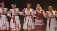 Belorussia folk dance , senior woman artists 4k Stock Footage