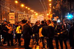 Romanians protest against Prime Minsiter Victor Ponta - stock photo