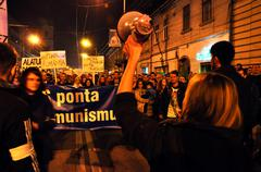 Romanians protest against Prime Minsiter Victor Ponta Stock Photos