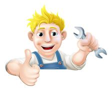 spanner man over sign thumbs up - stock illustration