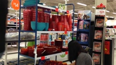 Customer buying stuff inside superstore Stock Footage