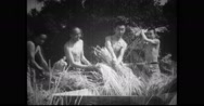 Nationalist Youth Corps units threshing hay in farm Stock Footage