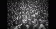 Communist crowd listening to speech Stock Footage