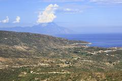 Aegean coast and Mount Athos. - stock photo