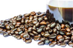 coffee beans isolated - stock photo