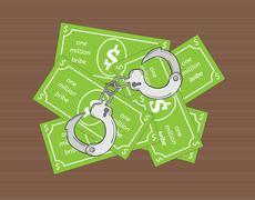 bribe and handcuffs - stock illustration
