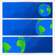 Vector set of blue world globe banners Stock Illustration