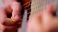 Guitar picking with sound Stock Footage