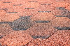 red asphalt shingle - stock photo