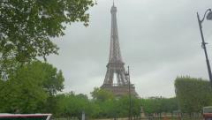 Street scene in Paris with Eiffel Tower, France, 4k, UHD Stock Footage