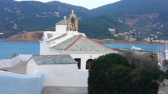 White church in Skopelos Island, Greece Stock Footage