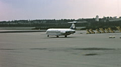Vienna 1969: aircraft moving to the runway at the International airport Stock Footage