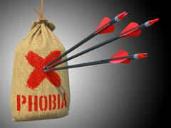 Stock Illustration of Phobia - Arrows Hit in Red Mark Target.
