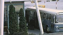 Vienna 1969: people boarding the bus in the strip Stock Footage