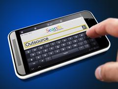 Outsource Concept in Search String on Smartphone. Stock Illustration