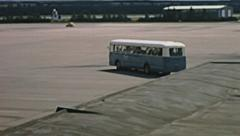 Vienna 1969: bus reaching the aircraft before taking off Stock Footage