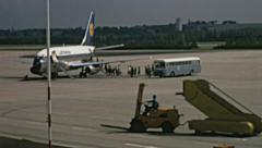 Vienna 1969: people boarding the aircraft - stock footage