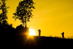 Stock Photo of silhouette and sunrises.