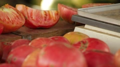 Organic Food Summer Tomatoes Farming Slider shot Stock Footage