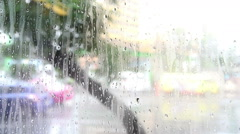 Raining outside on the street and look through the window, Bangkok Thailand Stock Footage