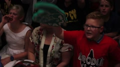 Kid Wrestling Fan Shouting and Cheering HD - stock footage
