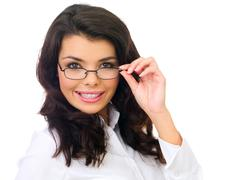 Close up Smiling Female Wearing Eye Glasses - stock photo