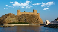Fort Al-Jalali in Muscat, Oman. Impressive twin forts of Old Muscat's harbor Stock Footage