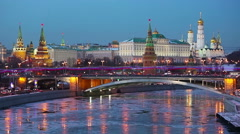 Amazing view of Kremlin in the winter after sunset, Moscow, Russia Stock Footage