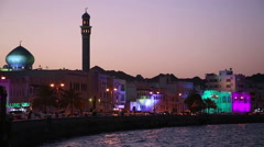 Scenic View of Muttrah Bay in the evening, Muscat, Oman Stock Footage