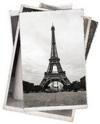 Vintage photo eiffel tower in paris Stock Photos