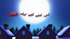 Santa Claus Hopping Between Rooftops - Computer Animation Stock Footage