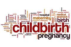 childbirth word cloud - stock illustration