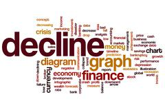 decline word cloud - stock illustration
