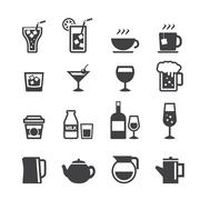 drink icon set - stock illustration