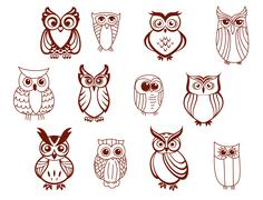 set of vector full body owls - stock illustration