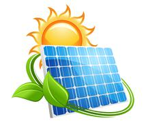 Solar energy label or badge Stock Illustration