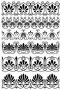 set of vintage black and white seamless borders - stock illustration