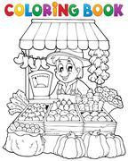 coloring book farmer theme -  illustration. - stock illustration
