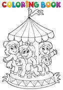 coloring book carousel theme - illustration. - stock illustration