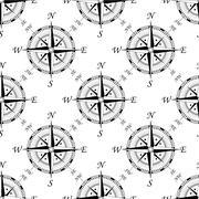 Vintage compass seamless pattern Stock Illustration