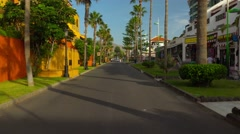 POV. Walking on streets of Playa de las Americas, Tenerife. Steadycam. Stock Footage