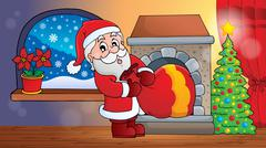 Stock Illustration of santa claus indoor scene - illustration.