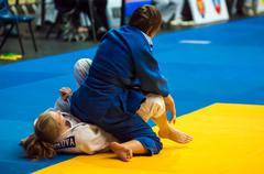 fighter girl in judo - stock photo